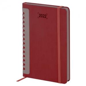 """Ежедневник датированный 2022 А5 138x213 мм BRAUBERG """"Original"""", под кожу, бордовый/серый, 112839"""