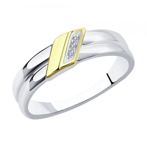 Кольцо из золочёного серебра с родированием и золочением с бриллиантами