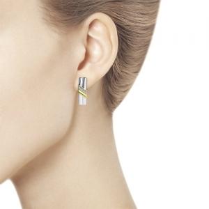 Серьги из золочёного серебра с бриллиантами