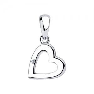 Подвеска Сердце из серебра с бриллиантом