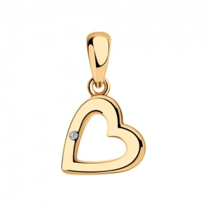 Подвеска Сердце из золочёного серебра с бриллиантом