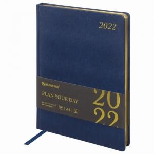 """Ежедневник датированный 2022 БОЛЬШОЙ ФОРМАТ 210х297 мм А4, BRAUBERG """"Iguana"""", под кожу, синий, 112909"""