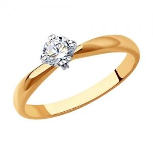 Кольцо из комбинированного золота с родированием с бриллиантом