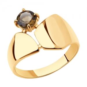 Кольцо из золочёного серебра с раухтопазом