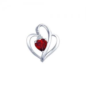 Подвеска из серебра в виде Сердца с гранатом и фианитами