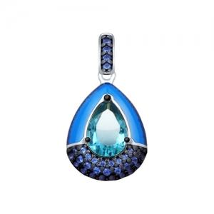 Подвеска из серебра с эмалью и синим ситаллом и фианитами
