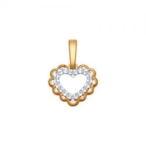 Подвеска Сердце из золочёного серебра с фианитами
