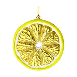Подвеска Лимон из золочёного серебра с и эмалью