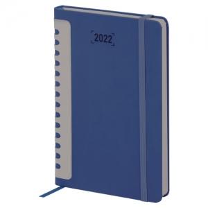 """Ежедневник датированный 2022 А5 138x213 мм BRAUBERG """"Original"""", под кожу, темно-синий/серый, 112837"""