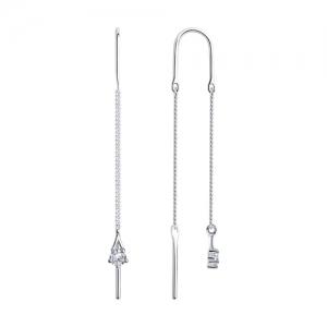 Серьги-цепочки из серебра с фианитами
