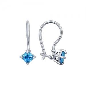Серьги из серебра с голубыми фианитами