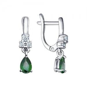 Серьги из серебра с зелеными фианитами