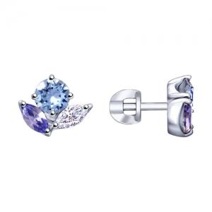 Серьги из серебра с бесцветными, синими и сиреневыми кристаллами Swarovski