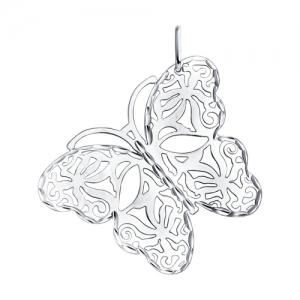 Ажурная серебряная подвеска с бабочкой