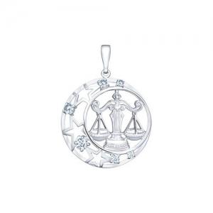 Подвеска знак зодиака из серебра с фианитами