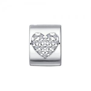 Подвеска-шарм из серебра с фианитами (Сердце)