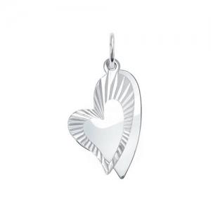 Подвеска Сердце из серебра с алмазной гранью