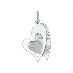 Подвеска love из серебра с алмазной гранью