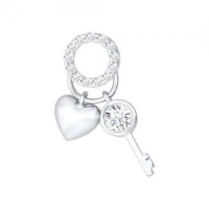 Подвеска Ключ от сердца из серебра с фианитами