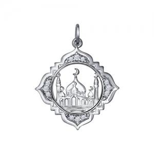 Подвеска мусульманская из серебра с фианитами
