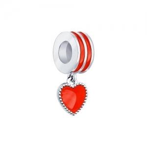 Подвеска-шарм Сердце из серебра с эмалью
