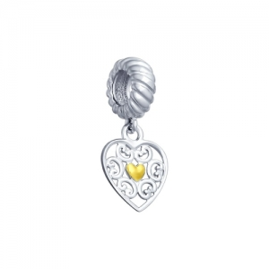 Подвеска Сердце из золочёного серебра
