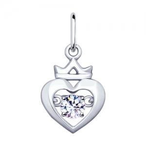 Подвеска Сердце из серебра с фианитом