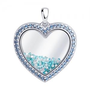 Подвеска Сердце из серебра с корундом сапфировым (синт.) и фианитами