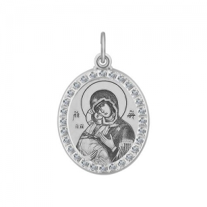 Иконка из серебра с лазерной обработкой с фианитами Икона Божьей Матери, Владимирская