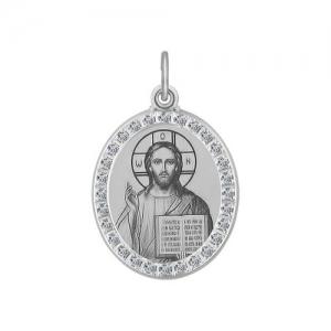 Иконка из серебра с лазерной обработкой с фианитами Господь Вседержитель