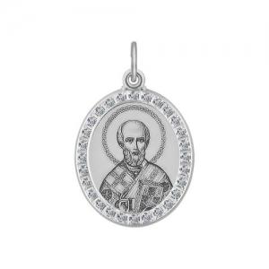 Иконка из серебра с лазерной обработкой с фианитами Святитель архиепископ Николай Чудотворец