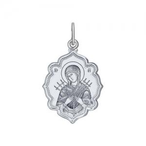 Иконка из серебра с лазерной обработкой Икона Божьей Матери, Семистрельная