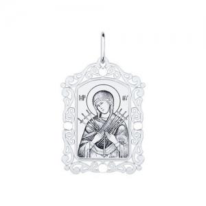 Иконка из серебра с алмазной гранью и лазерной обработкой Икона Божьей Матери, Семистрельная