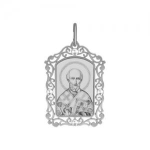 Иконка из серебра с алмазной гранью и лазерной обработкой Святитель архиепископ Николай Чудотворец