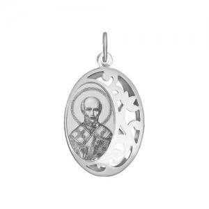 Иконка из серебра с лазерной обработкой Святитель архиепископ Николай Чудотворец