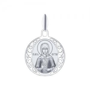 Иконка из серебра с лазерной обработкой Святая блаженная Матрона Московская