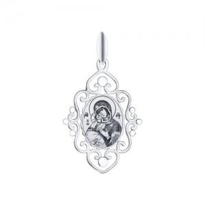 Иконка из серебра с алмазной гранью и лазерной обработкой Икона Божьей Матери, Владимирская
