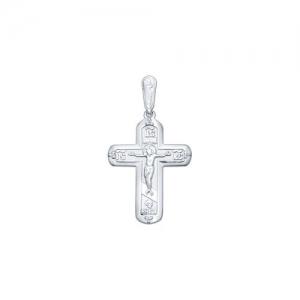 Крест из серебра с фианитами