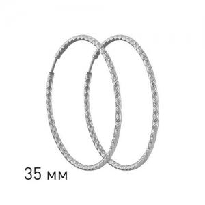 Серьги конго из серебра с алмазной гранью диаметр 35 мм