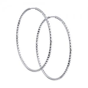 Серьги конго из серебра с алмазной гранью диаметр 45 мм
