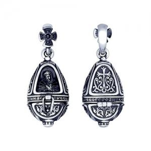 Иконка из чернёного серебра Икона Божьей Матери Семистрельная