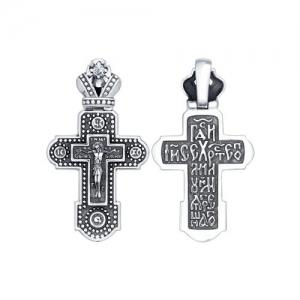Крест из чернёного серебра с фианитом