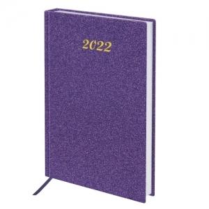 """Ежедневник датированный 2022 А5 138x213 мм BRAUBERG """"Sparkle"""", блестки, фиолетовый, 112828"""