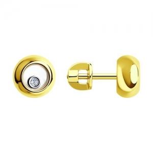 Серьги из желтого золота с миксом камней