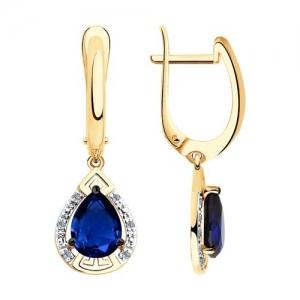 Серьги из золота с бриллиантами и синими корунд (синт.)