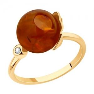 Кольцо из золота с янтарём и фианитом