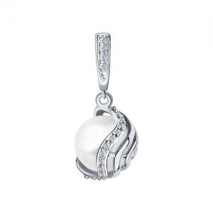Подвеска из белого золота с родированием с бриллиантами и жемчугом