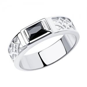 Кольцо из серебра с родированием с фианитом