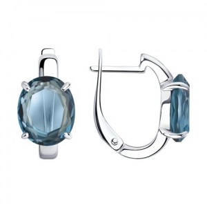 Серьги из серебра с минеральным стеклом