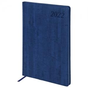 """Еженедельник датированный 2022 БОЛЬШОЙ ФОРМАТ 210х297 мм А4, BRAUBERG """"Wood"""", под кожу, синий, 112861"""